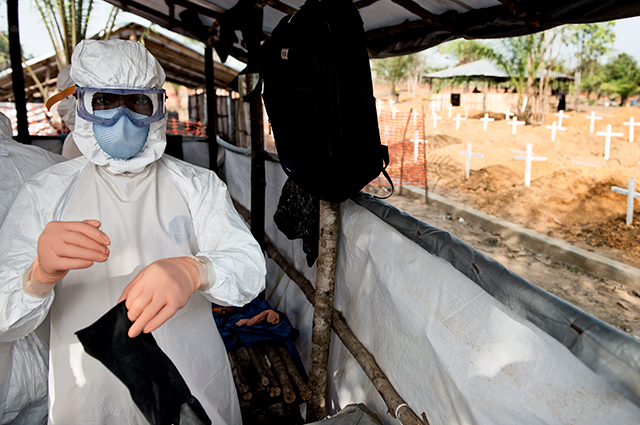 USAID personnel working on Ebola recovery in Liberia in 2015.