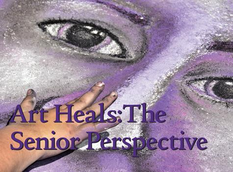 face drawn on the sidewalk with chalk for the Art Heals: a Senior Perspective event for the Blackstone Valley Technical School Seniors