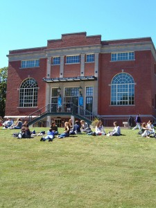 Students on the lawn of the Lowe building