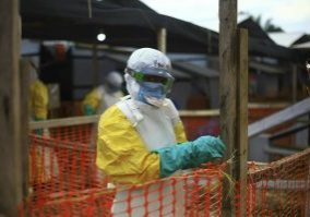 An Ebola health worker seen at a treatment centre in Beni, Eastern Congo
