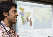 10/14/2015 - Grafton, Mass. -  Harun Rashid, V16, CVASU, a  visiting student from Bangladesh at the Cummings School of Veterinary Medicine at Tufts University, gives a presentation on his home country and veterinary school on October 14, 2015. (Alonso Nichols/Tufts University)