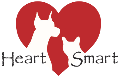HeartSmart Logo that is a red heart with a transparent image of a dog and cat in front