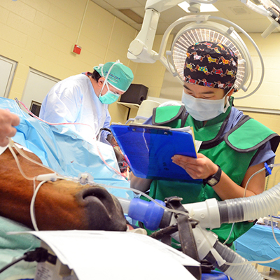 A Student in her fourth year works anesthesia during a surgical procedure.